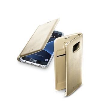 Pouzdro typu kniha CellularLine FLIP BOOK pro Samsung Galaxy S7 EDGE, zlaté