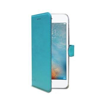 Pouzdro typu kniha CELLY Wally pro Apple iPhone 7, PU kůže, tyrkysové