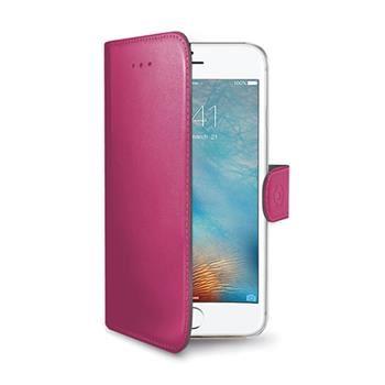 Pouzdro typu kniha CELLY Wally pro Apple iPhone 7 Plus, PU kůže, růžová