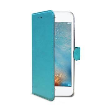 Pouzdro typu kniha CELLY Wally pro Apple iPhone 7 Plus, PU kůže, tyrkysové