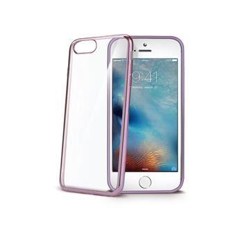 TPU pouzdro CELLY Laser - lemování s kovovým efektem pro iPhone 7, růžovozlaté
