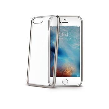 TPU pouzdro CELLY Laser - lemování s kovovým efektem pro iPhone 7, stříbrné