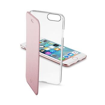 Průhledné pouzdro typu kniha CellularLine Clear Book pro Apple iPhone 7, růžové