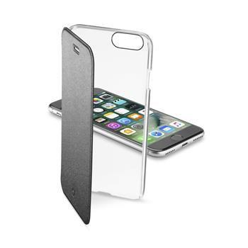 Průhledné pouzdro typu kniha CellularLine Clear Book pro Apple iPhone 7, černé