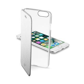 Průhledné pouzdro typu kniha CellularLine Clear Book pro Apple iPhone 7, stříbrné