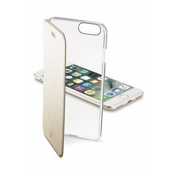 Průhledné pouzdro typu kniha CellularLine Clear Book pro Apple iPhone 7, zlaté