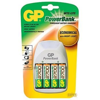 Sada GP Nite Lite, nabíječka AA/AAA baterií, 4x AA baterie GP R6-2700 Ni-Mh,  2700  mAh