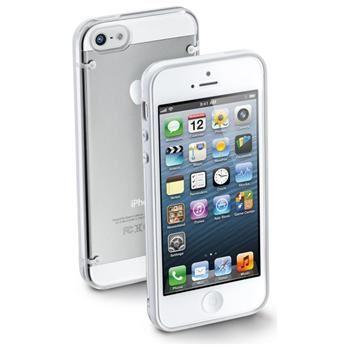 Zadní ochranný kryt CellularLine Bumper Plus pro Apple iPhone 5/5S/SE, bílý + fólie na displej