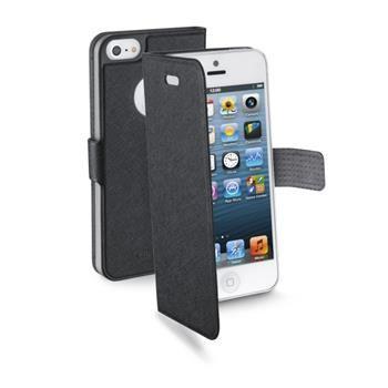Extratenké pouzdro typu kniha CellularLine Book Slim pro Apple iPhone 5/5S/SE, černé