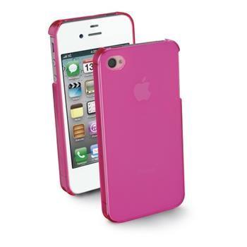 Zadní kryt CellularLine Cool Fluo pro Apple iPhone 4/4S, růžový + fólie