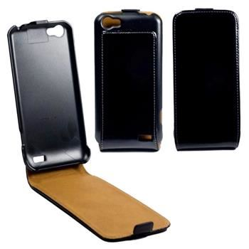 Kožené pouzdro flap OZBO FLIP Premium pro HTC One V, černé