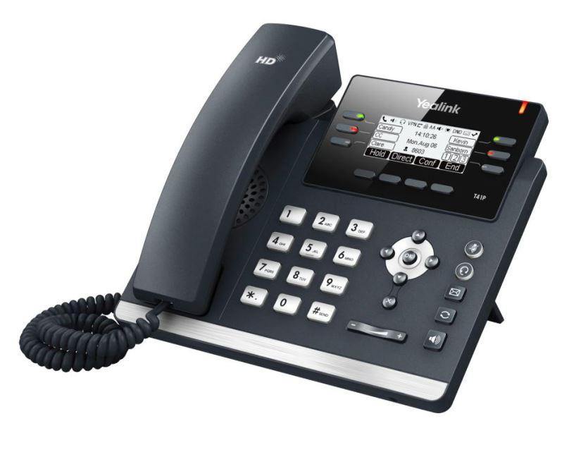"Yealink SIP-T41P IP tel., PoE, 2,7"" 192x64 LCD, 6 prog.tl."