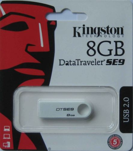 Kingston flashdisk USB SE9 8GB, bílá