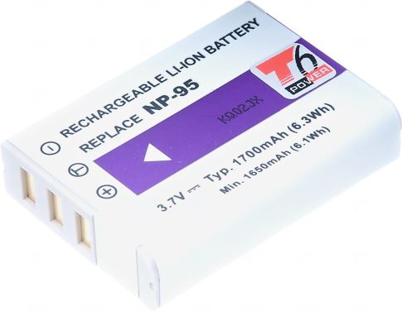 Baterie T6 power Fuji NP-95, 1700mAh, šedá