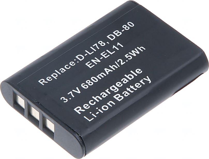 Baterie T6 power Nikon EN-EL11, Olympus Li-60B, Pentax D-Li78, Ricoh DB-80, 570mAh, černá