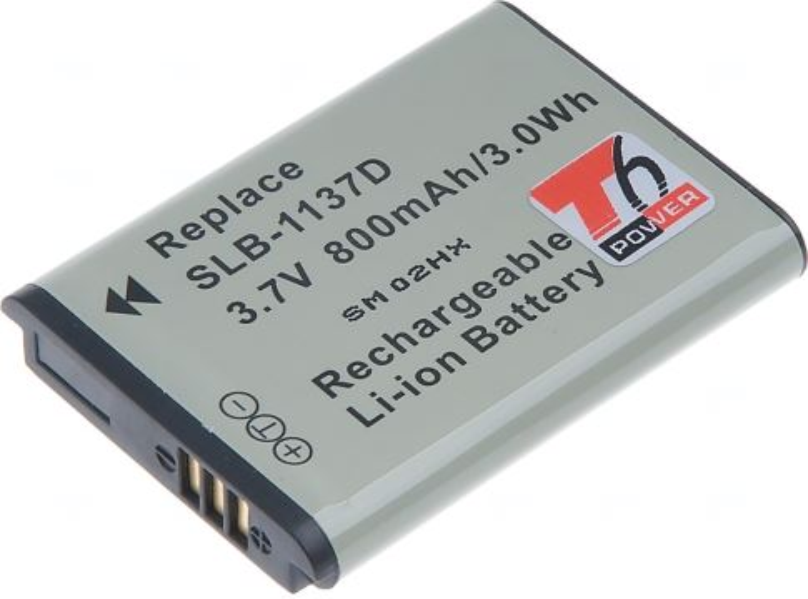 Baterie T6 power Samsung SLB-1137D, 850mAh, černá