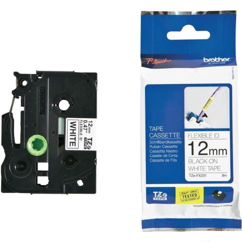 TZE-FX231, bílá / černá, 12 mm