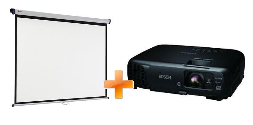3LCD EPSON EH-TW570 3000 Ansi 15 000:1 + plátno Nobo 200 x 135