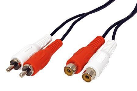 Kabel prodlužovací 2x cinch(M) - 2x cinch(F), 5m
