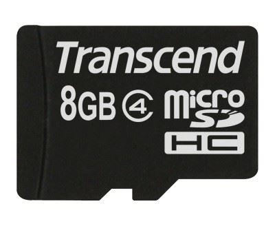 Transcend 8GB microSDHC (Class 4) paměťová karta (bez adaptéru)