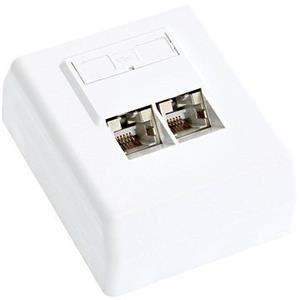 DATACOM STP zásuvka na omítku, 2x RJ45, bílá, Cat.5e svorkovnice