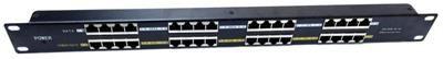 """MaxLink POE panel 16 portů, 1U pro rack 19"""", stíněný, černý"""