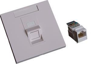 EuroLan UTP zásuvka pod omítku, 1x RJ45, 45°, bílá, Cat.5e keystone