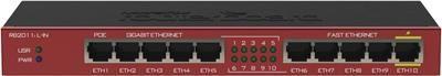 MikroTik RouterBOARD RB2011iL-IN, Atheros 74KMIPS CPU, 64MB RAM, 5xLAN, 5xGbit LAN, RouterOS L4, montážní krabice, zdroj