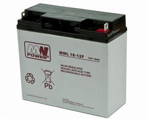 MW olověná baterie AGM 12V 18Ah (akumulátor) životnost 10-12 let, F-konektor